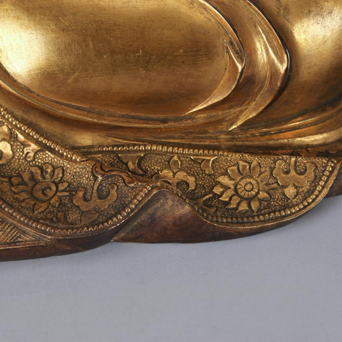 CHINESE GILT BRONZE SEATED SHAKYAMUNI, QING - 7