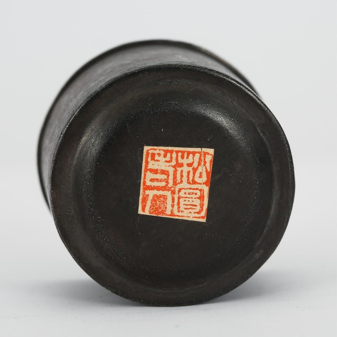 CHINESE CHENXIANG WOOD THUMB RING AND BOX - 3