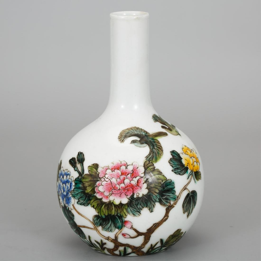 CHINESE FAMILLE ROSE BOTTLE VASE
