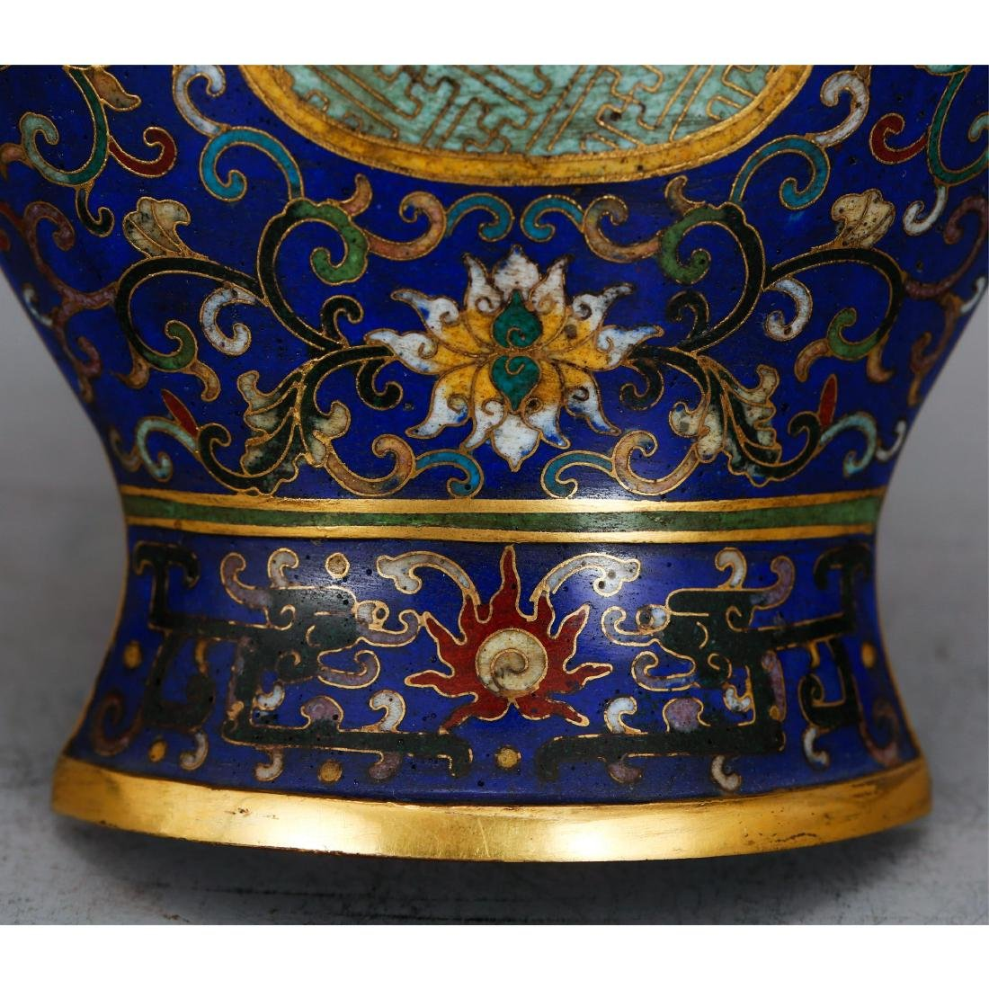 PAIR OF CHINESE CLOISONNE WALL VASES - 8