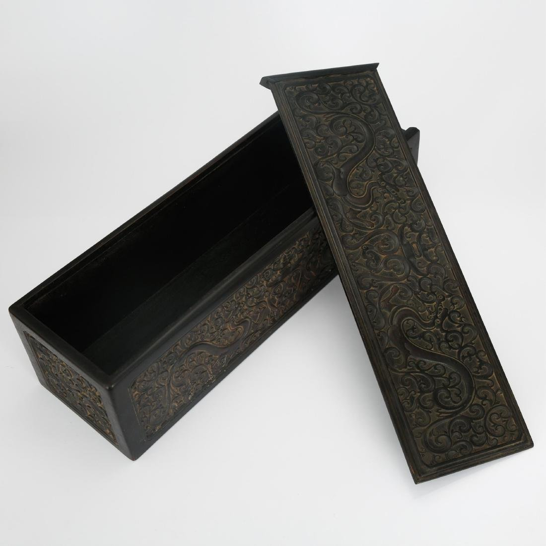 CHINESE ZITAN WOOD SCROLL COVER BOX - 10