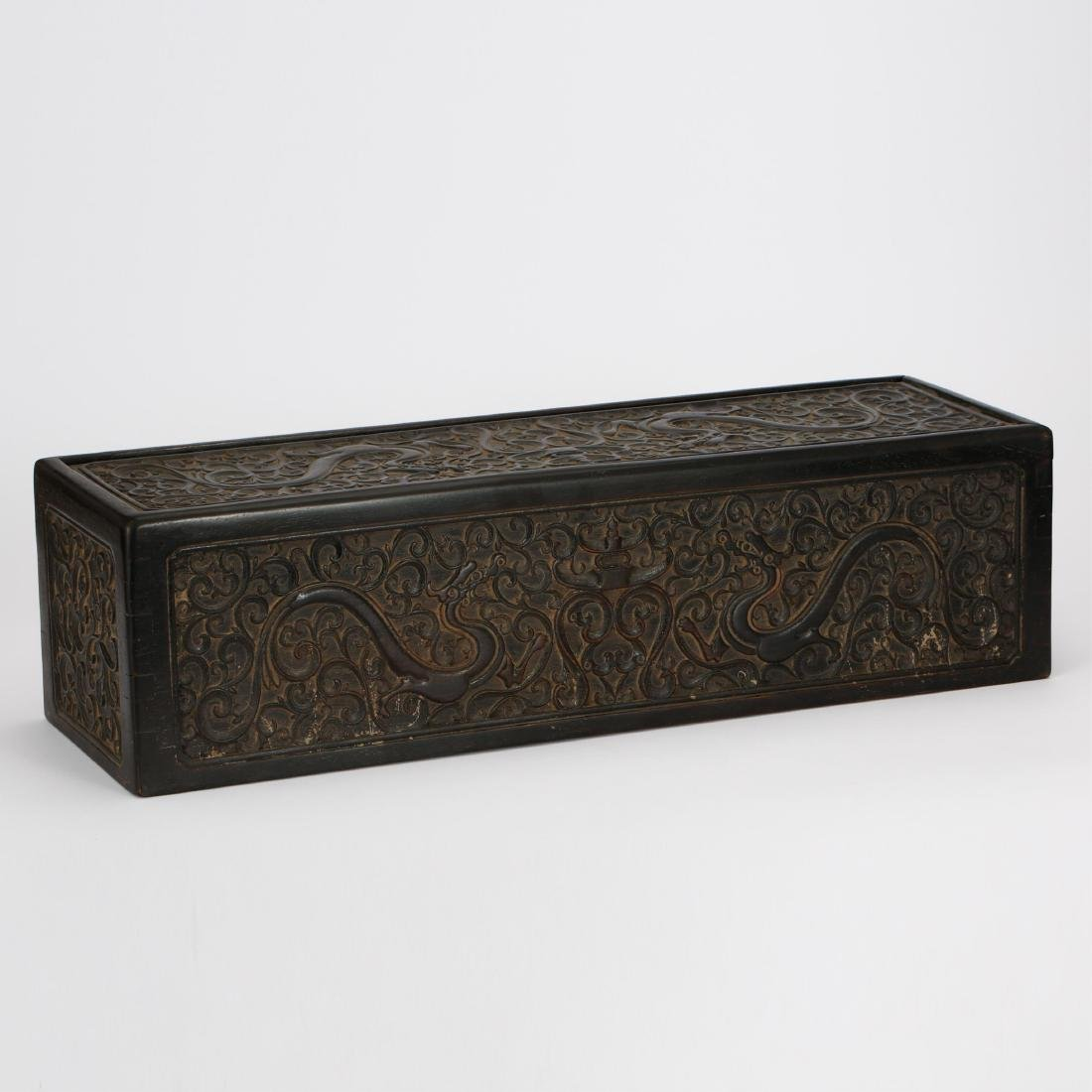 CHINESE ZITAN WOOD SCROLL COVER BOX