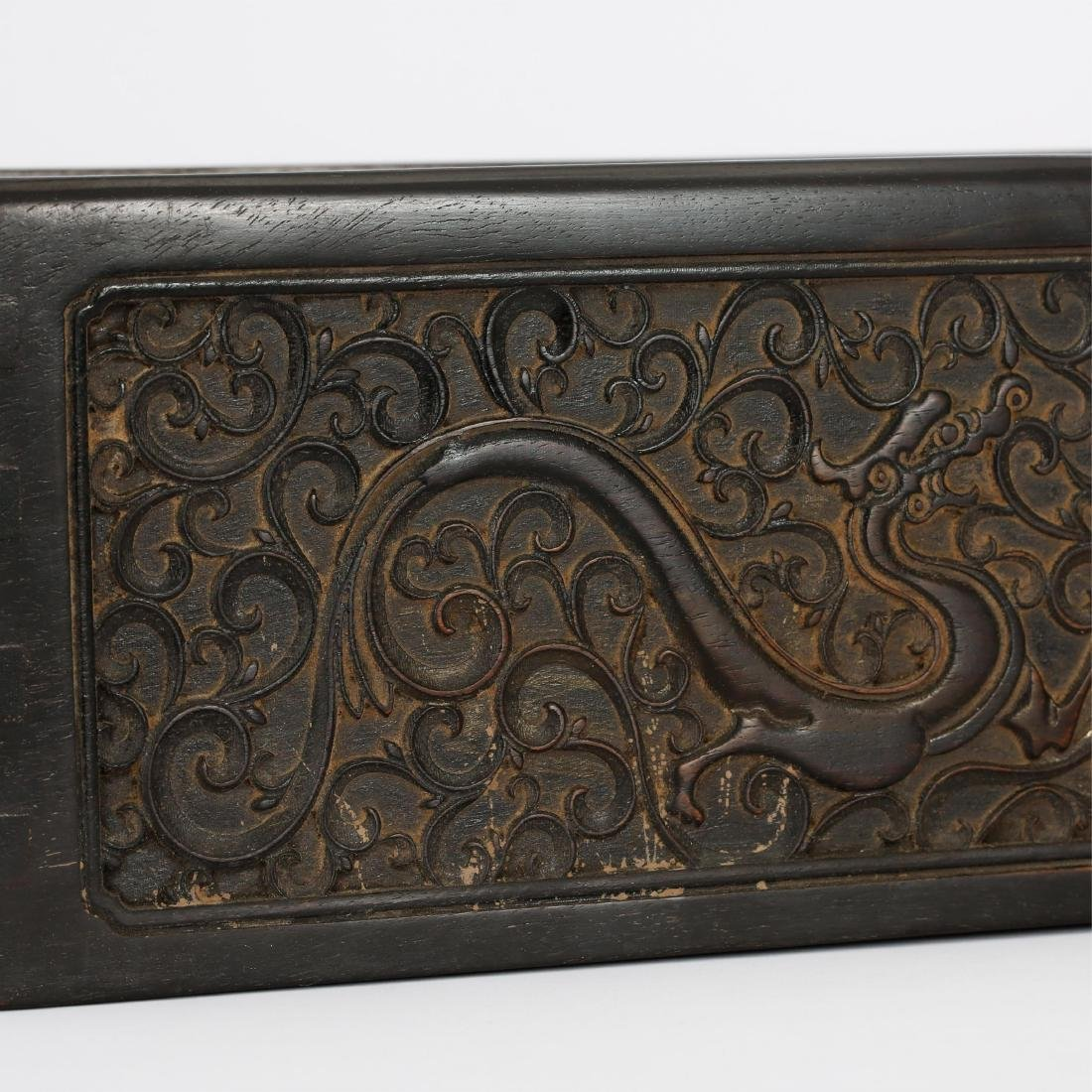 CHINESE ZITAN WOOD SCROLL COVER BOX - 3