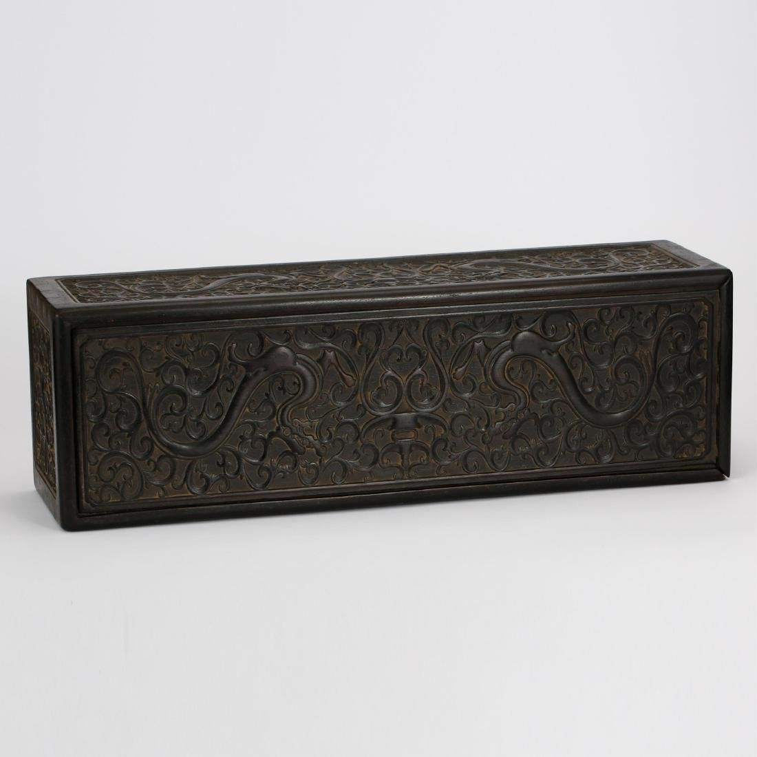 CHINESE ZITAN WOOD SCROLL COVER BOX - 5