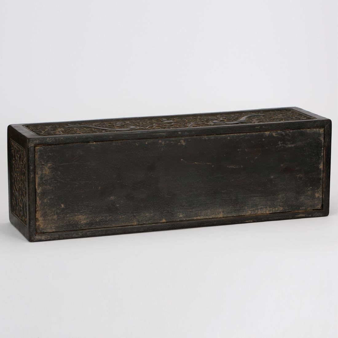 CHINESE ZITAN WOOD SCROLL COVER BOX - 7