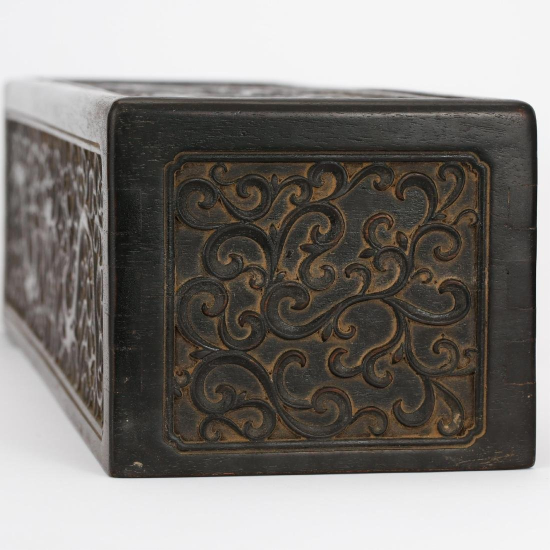CHINESE ZITAN WOOD SCROLL COVER BOX - 9