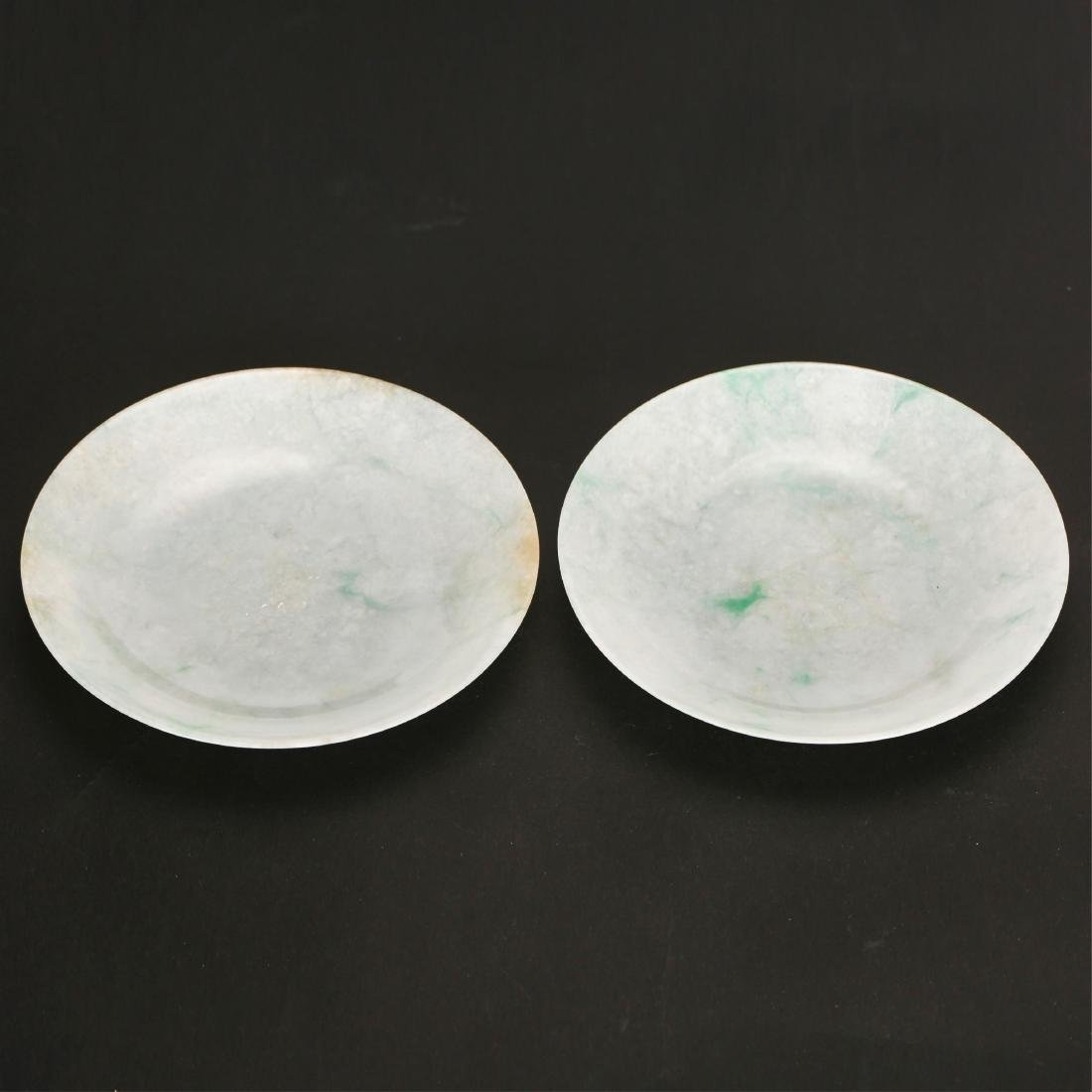 PAIR OF CHINESE JADEITE PLATES