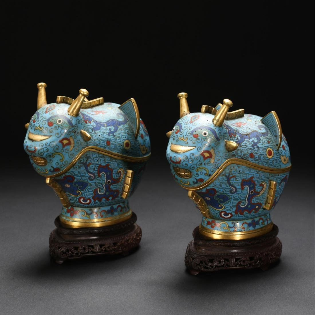 PAIR OF CHINESE CLOISONNE BEAST CENSERS