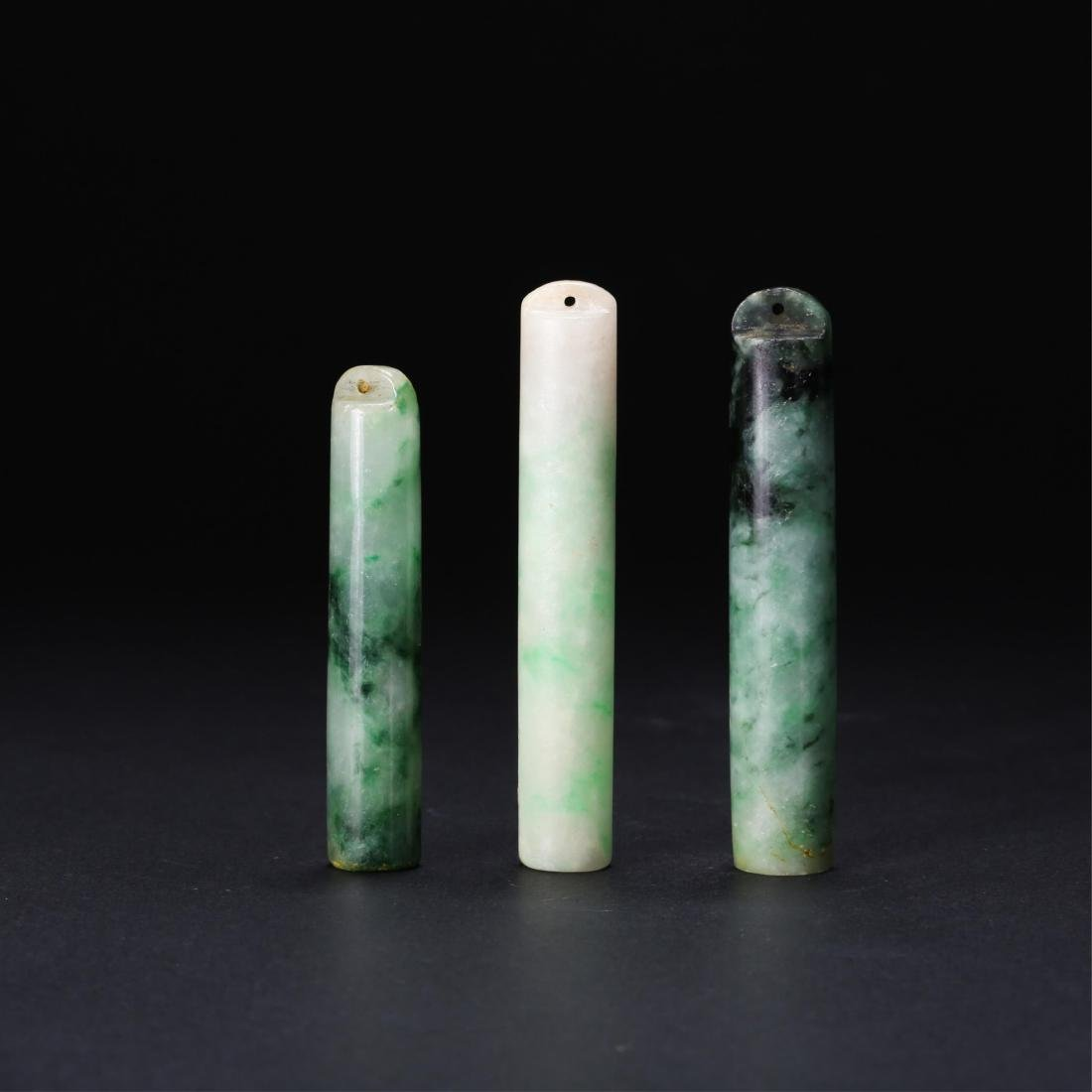 GROUP OF 3 CHINESE JADEITE FEATHER HOLDERS