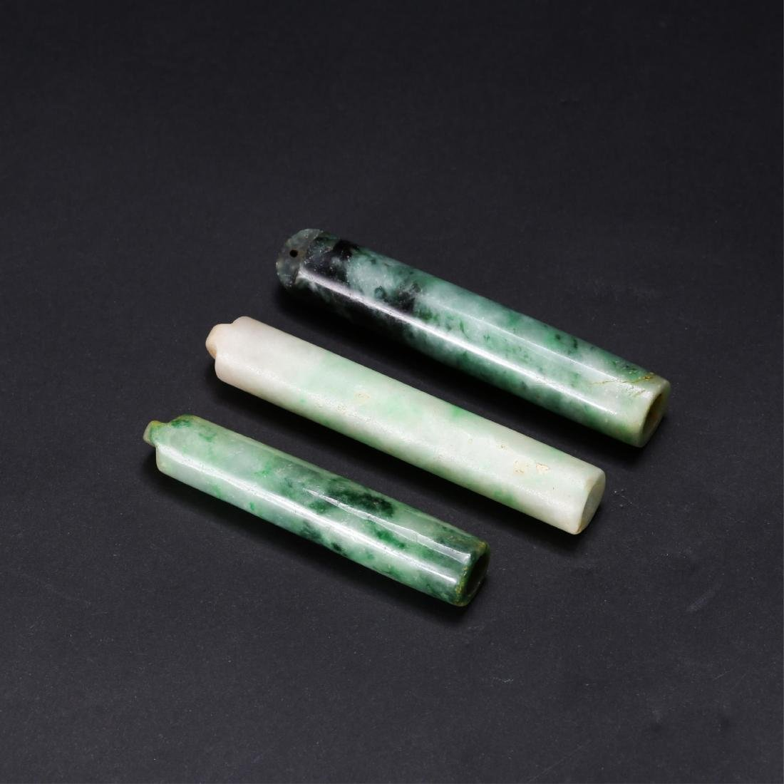 GROUP OF 3 CHINESE JADEITE FEATHER HOLDERS - 2