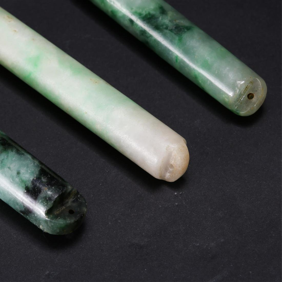 GROUP OF 3 CHINESE JADEITE FEATHER HOLDERS - 3