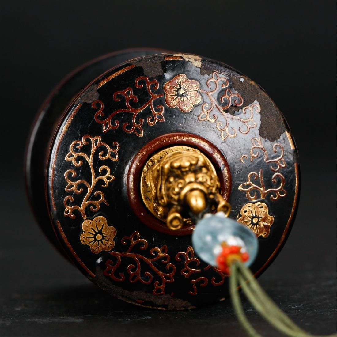 CHINESE GILT LACQUER THUMB RING BOX - 3