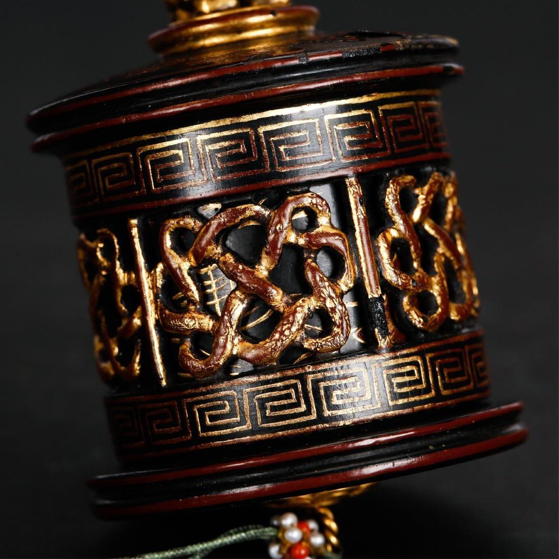 CHINESE GILT LACQUER THUMB RING BOX - 5