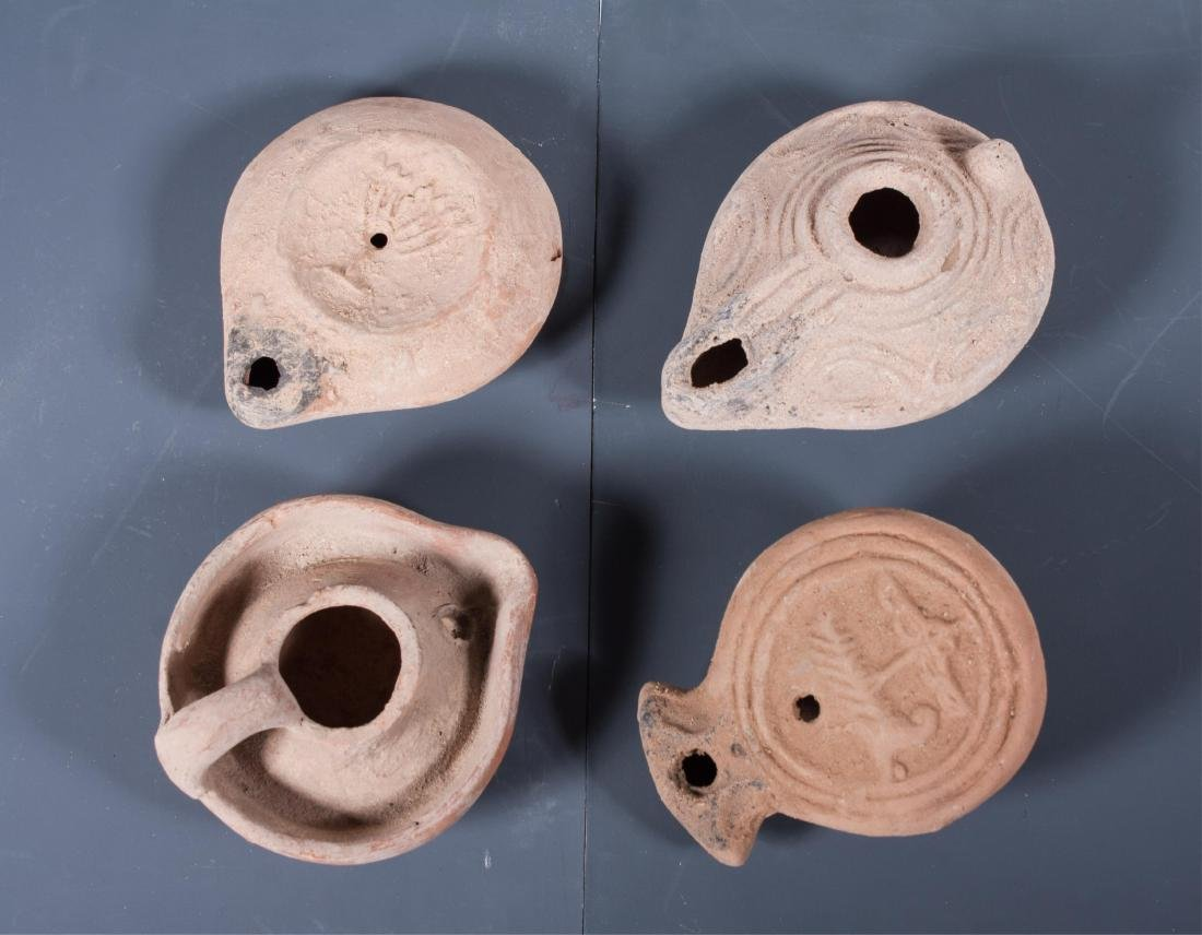 GROUP OF 4 ANCIENT ROMAN CLAY OIL LAMP , 100AD