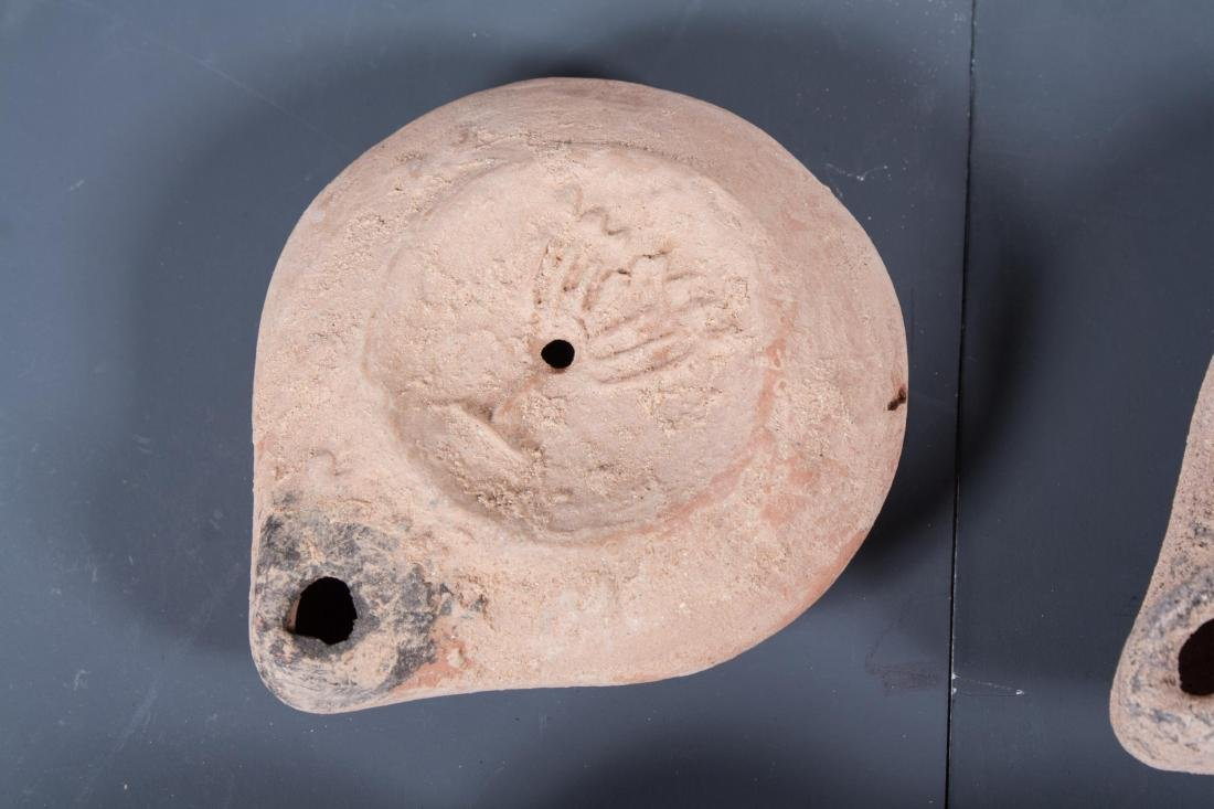 GROUP OF 4 ANCIENT ROMAN CLAY OIL LAMP , 100AD - 2