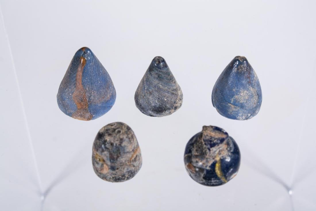GROUP OF 5 ANCIENT EGYPTIAN GLASS GAMING PIECE SET