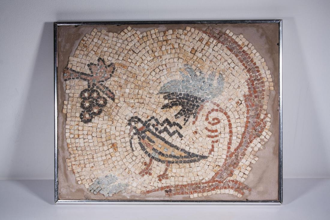 ANCIENT ROMAN MOSAIC FRAGMENT PANEL , 100 AD -300A