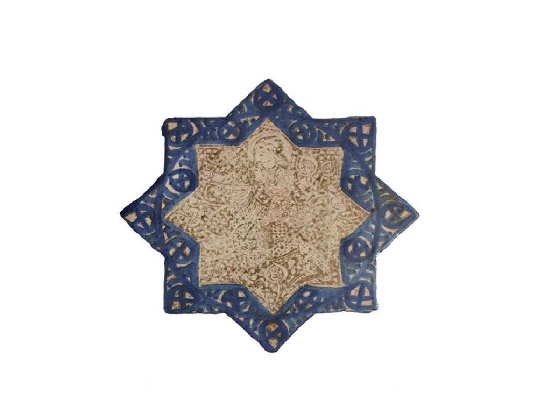 A ISLAMIC KASHAN LUSTRE STAR TILE