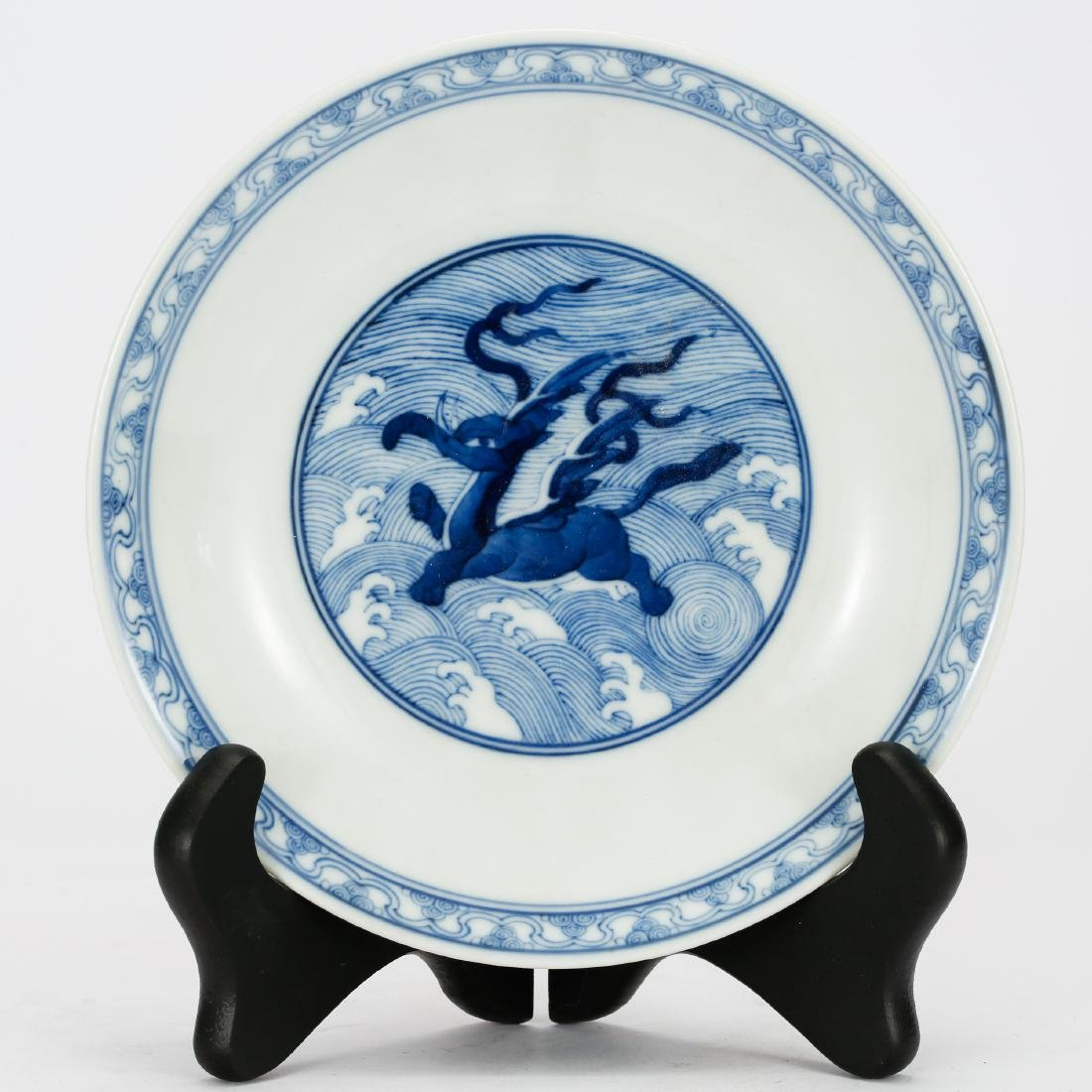 CHINESE BLUE AND WHITE PORCELAIN PLATE QING DYNASTY