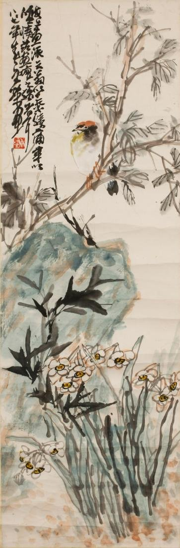 CHINESE INK AND COLOR PAINTING OF FLOWERS