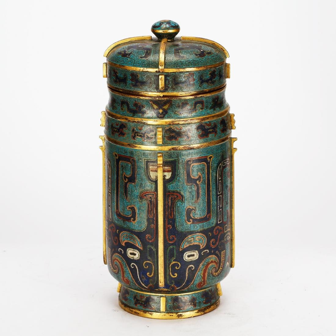 CHINESE CLOISONNE ENAMEL COVER VASE, QING DYNASTY