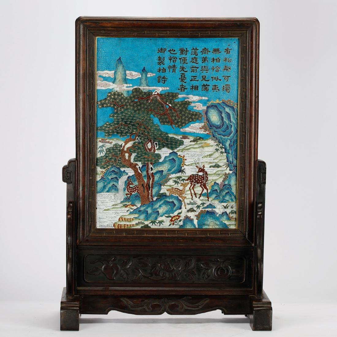 CHINESE CLOISONNE ENAMEL TABLE SCREEN, QING DYNASTY