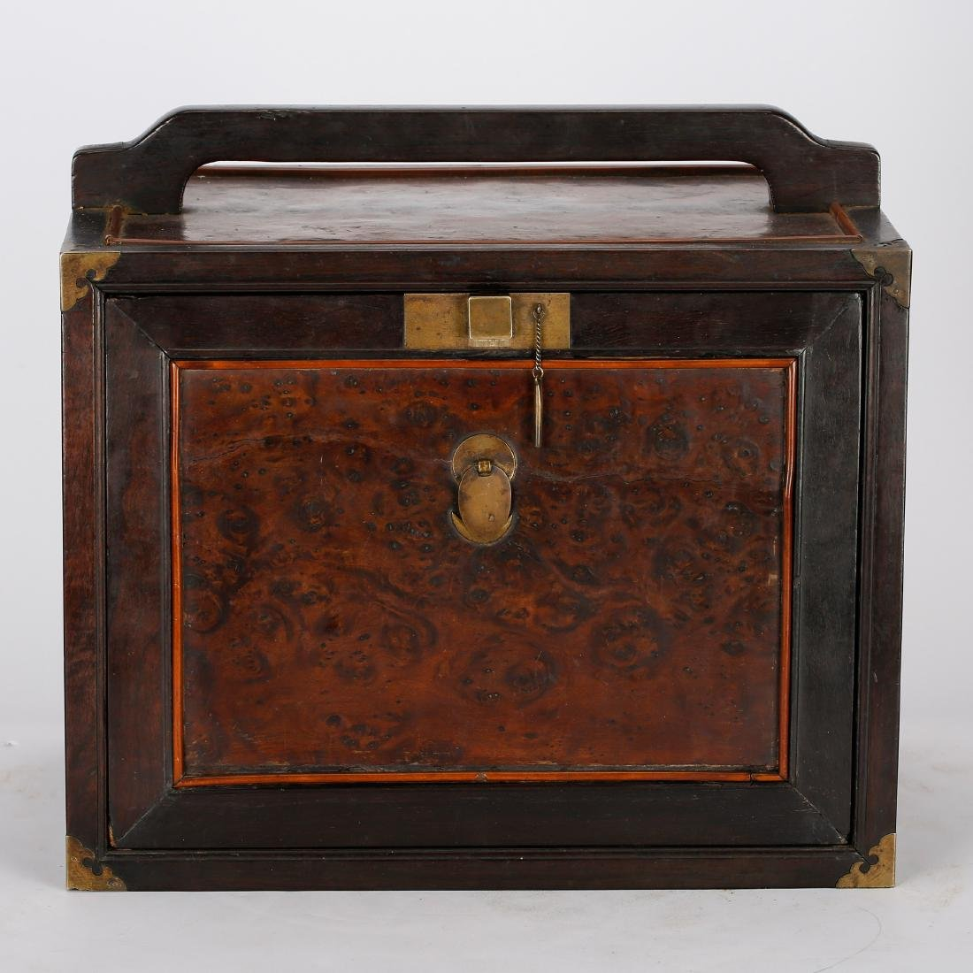 CHINESE ZITAN AND BURL WOODEN CASE, QING DYNASTY