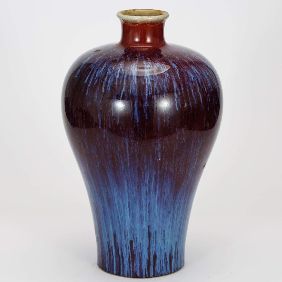 CHINESE FLAMBEE GLAZED MEIPING VASE, QING DYNASTY