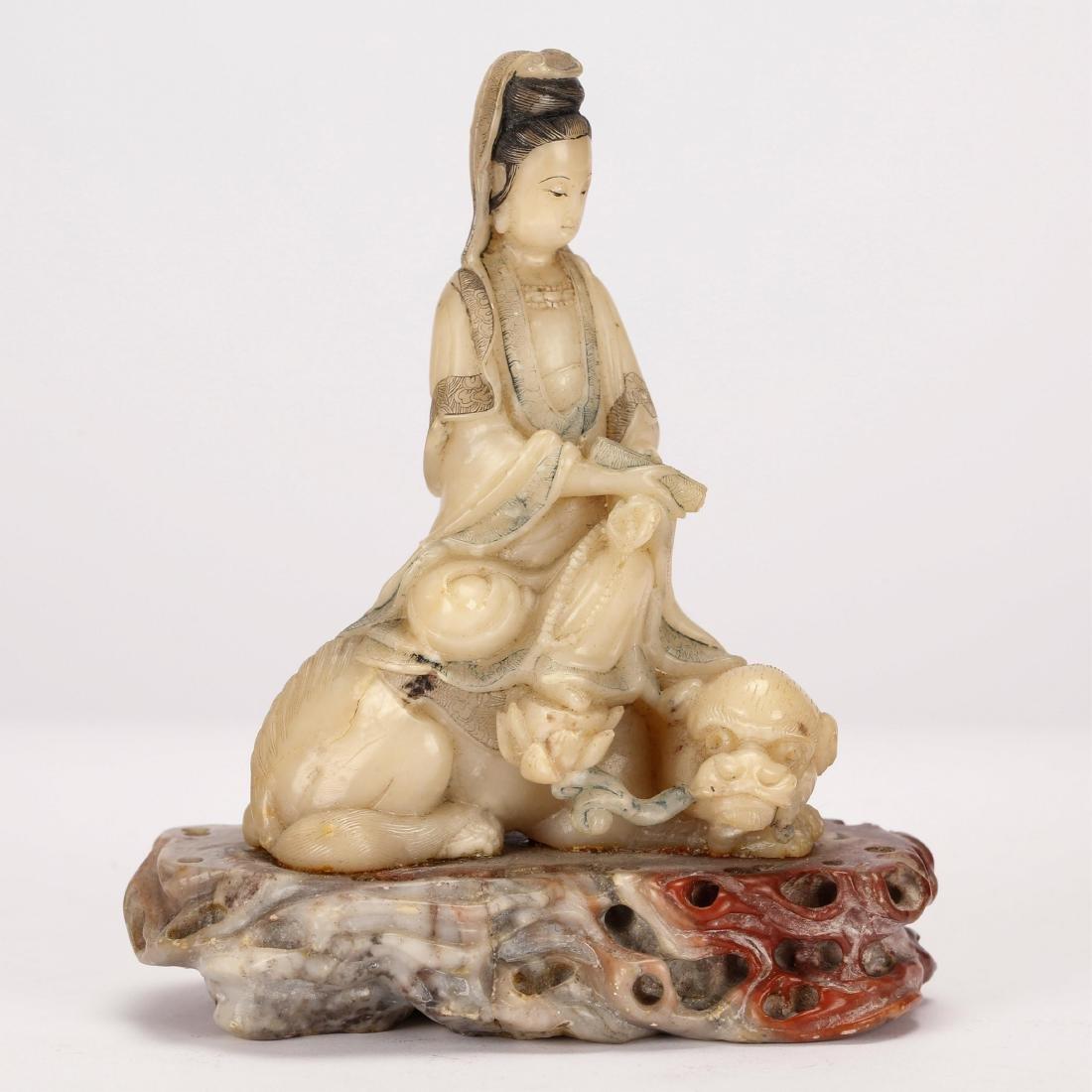 CHINESE SOAPSTONE SEATED GUANYIN