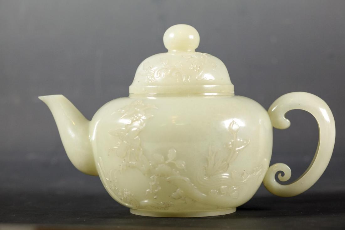 CHINESE CELADON JADE CARVED TEA POT