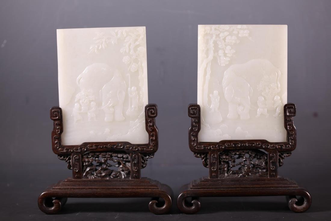 CHINESE WHITE JADE TABLE SCREEN, PAIR