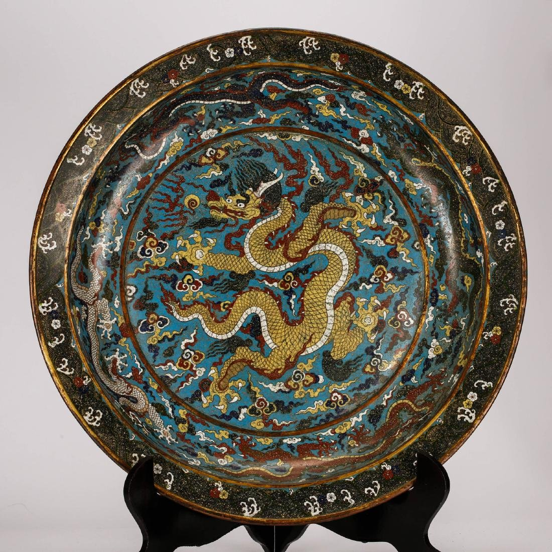 CHINESE CLOISONNE ENAMEL DRAGON CHARGER