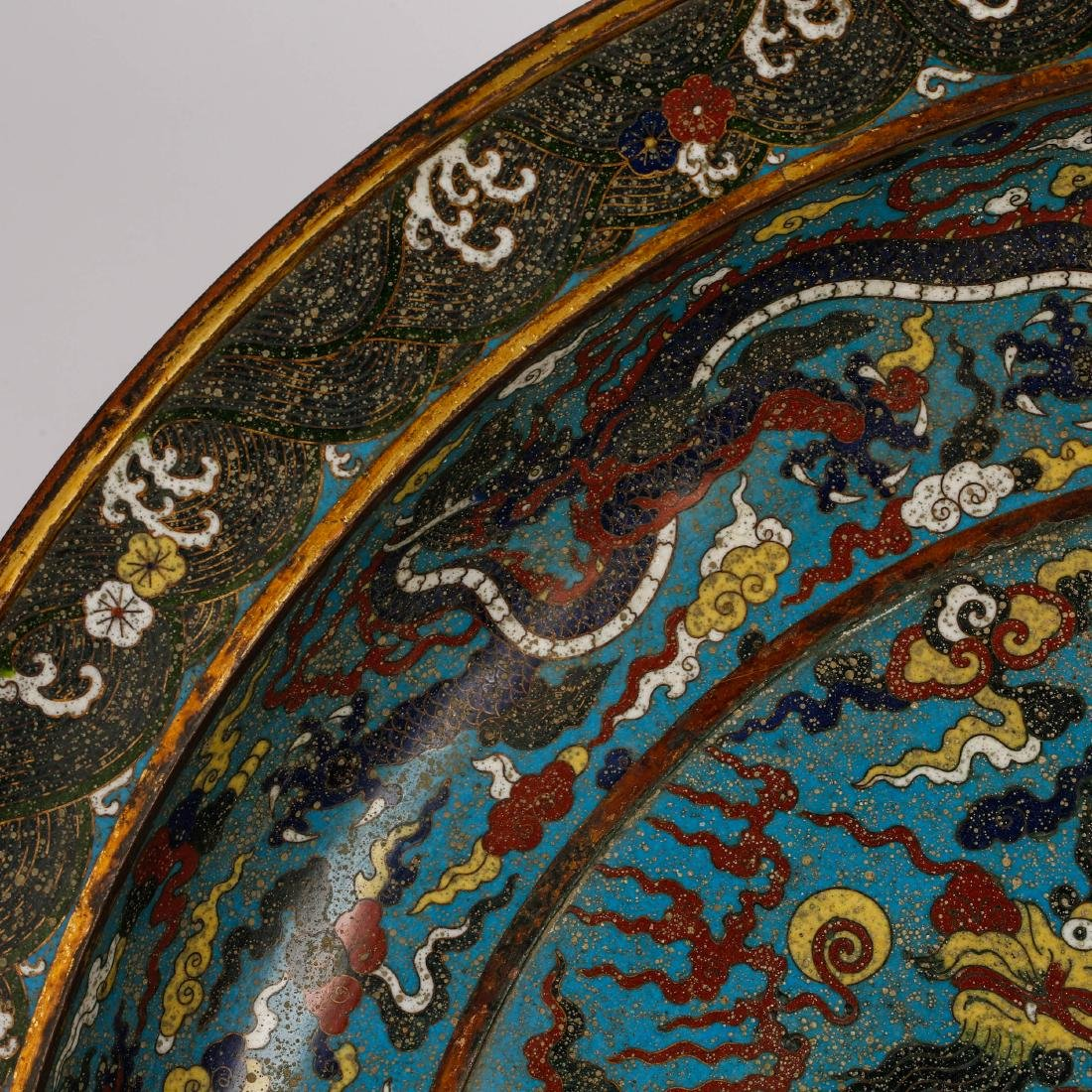 CHINESE CLOISONNE ENAMEL DRAGON CHARGER - 3