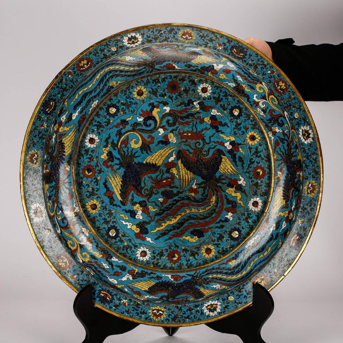 CHINESE CLOISONNE ENAMEL DRAGON CHARGER - 5