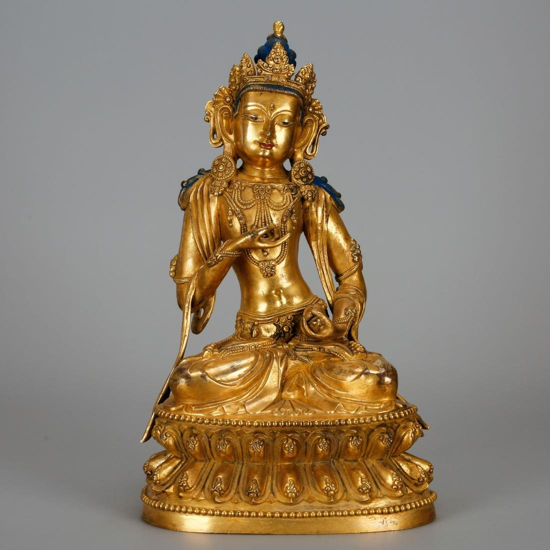 CHINESE GILT BRONZE FIGURE OF GUANYIN