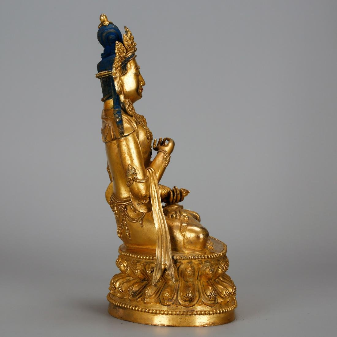 CHINESE GILT BRONZE FIGURE OF GUANYIN - 2
