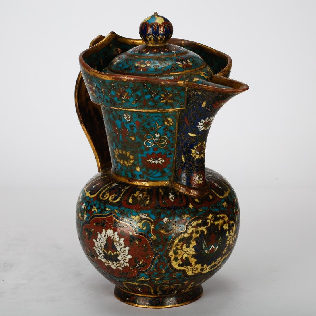 CHINESE CLOISONNE WATER PITCHER - 2