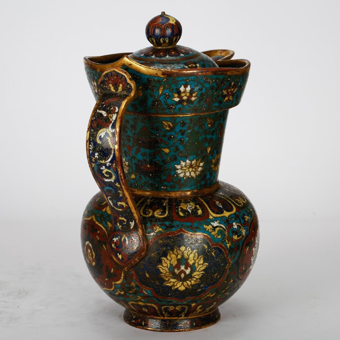 CHINESE CLOISONNE WATER PITCHER - 3