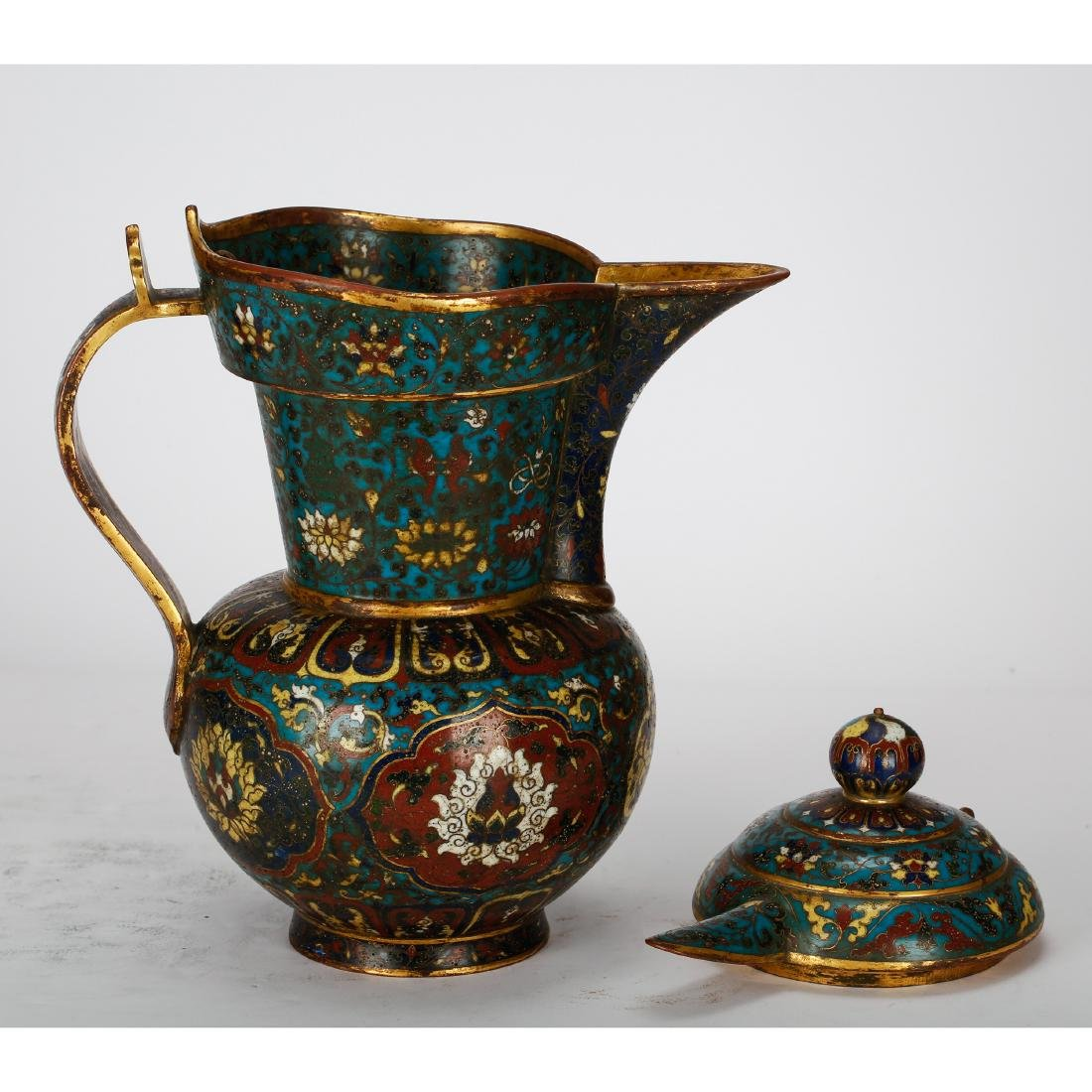 CHINESE CLOISONNE WATER PITCHER - 4