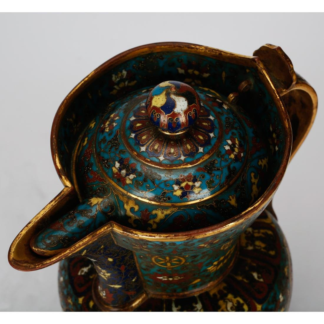 CHINESE CLOISONNE WATER PITCHER - 5