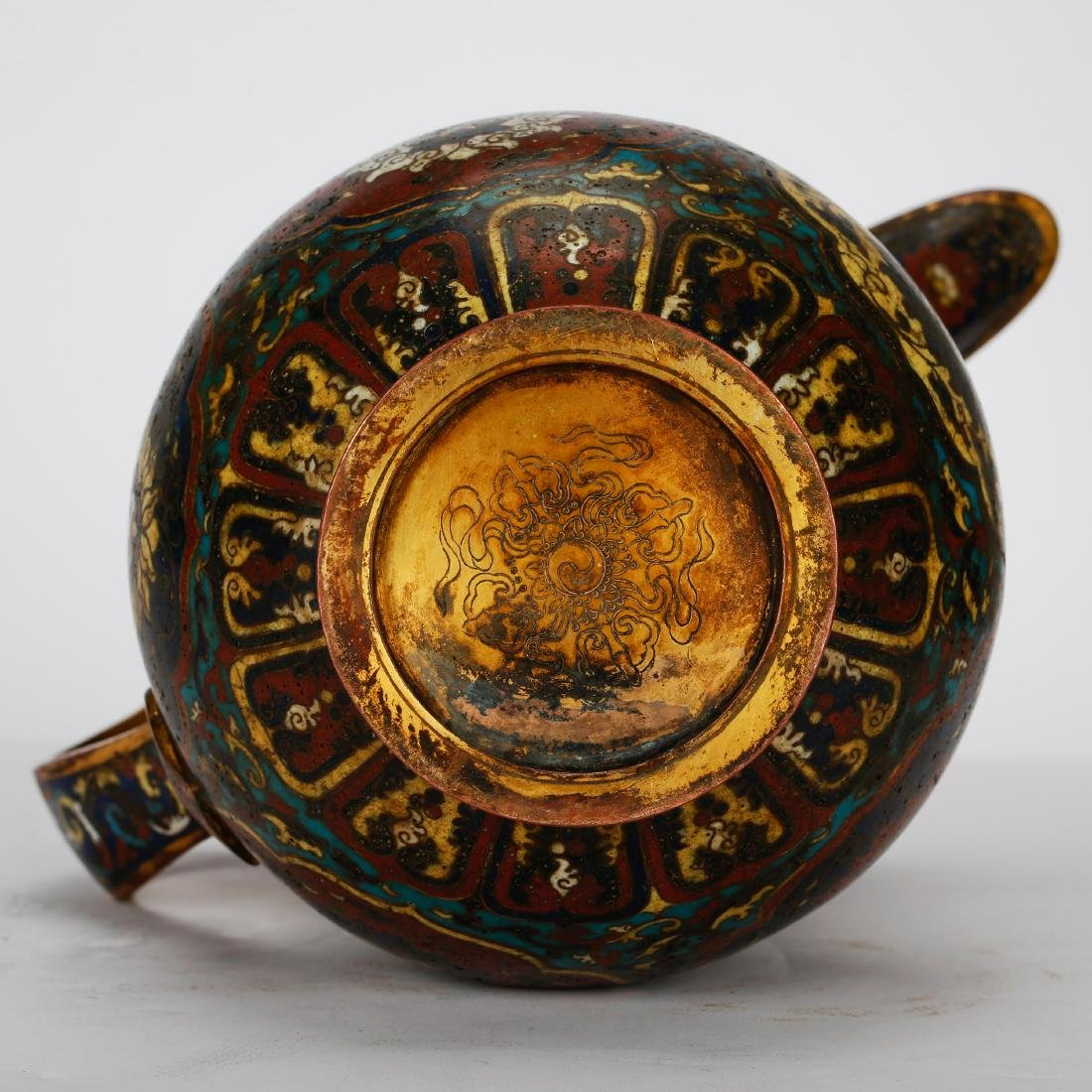 CHINESE CLOISONNE WATER PITCHER - 9