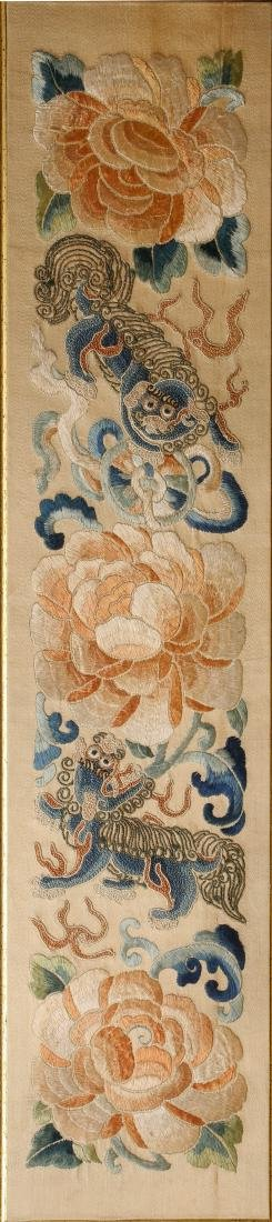CHINESE EMBROIDERY OF FOOLION MOTIF