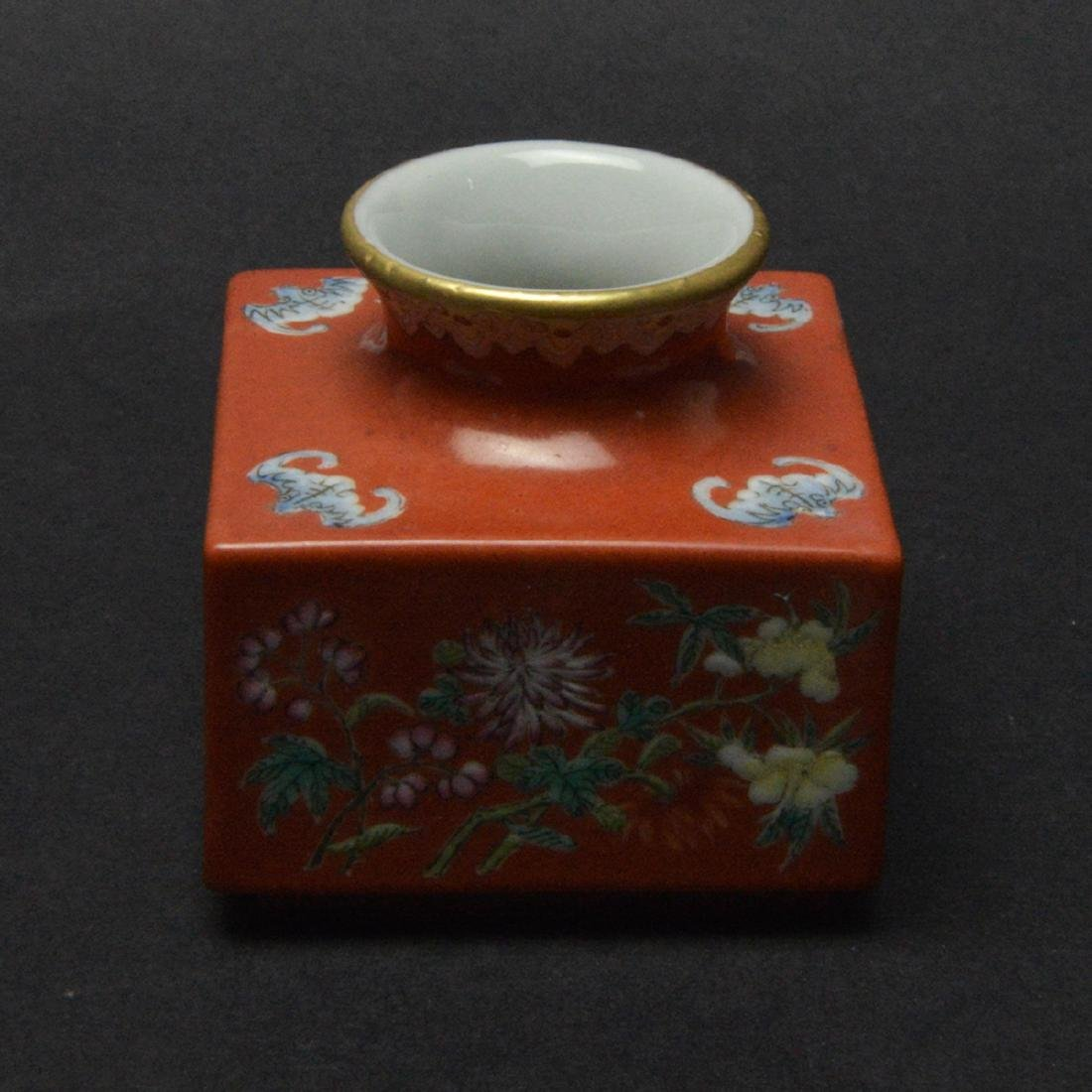 CHINESE CORAL RED GROUND FLORAL VASE - 3