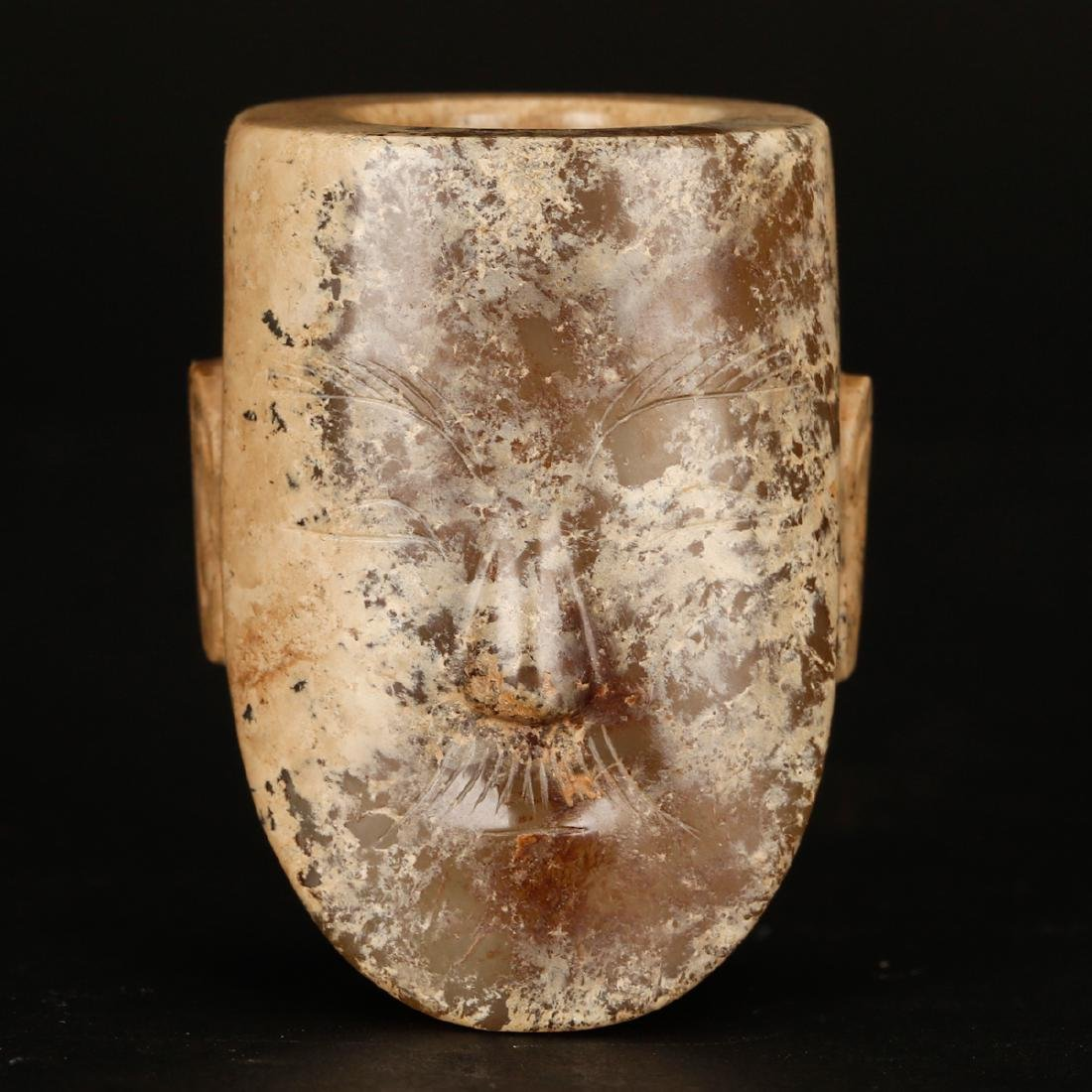 CHINESE ARCHAIC JADE OF HUMAN FACE