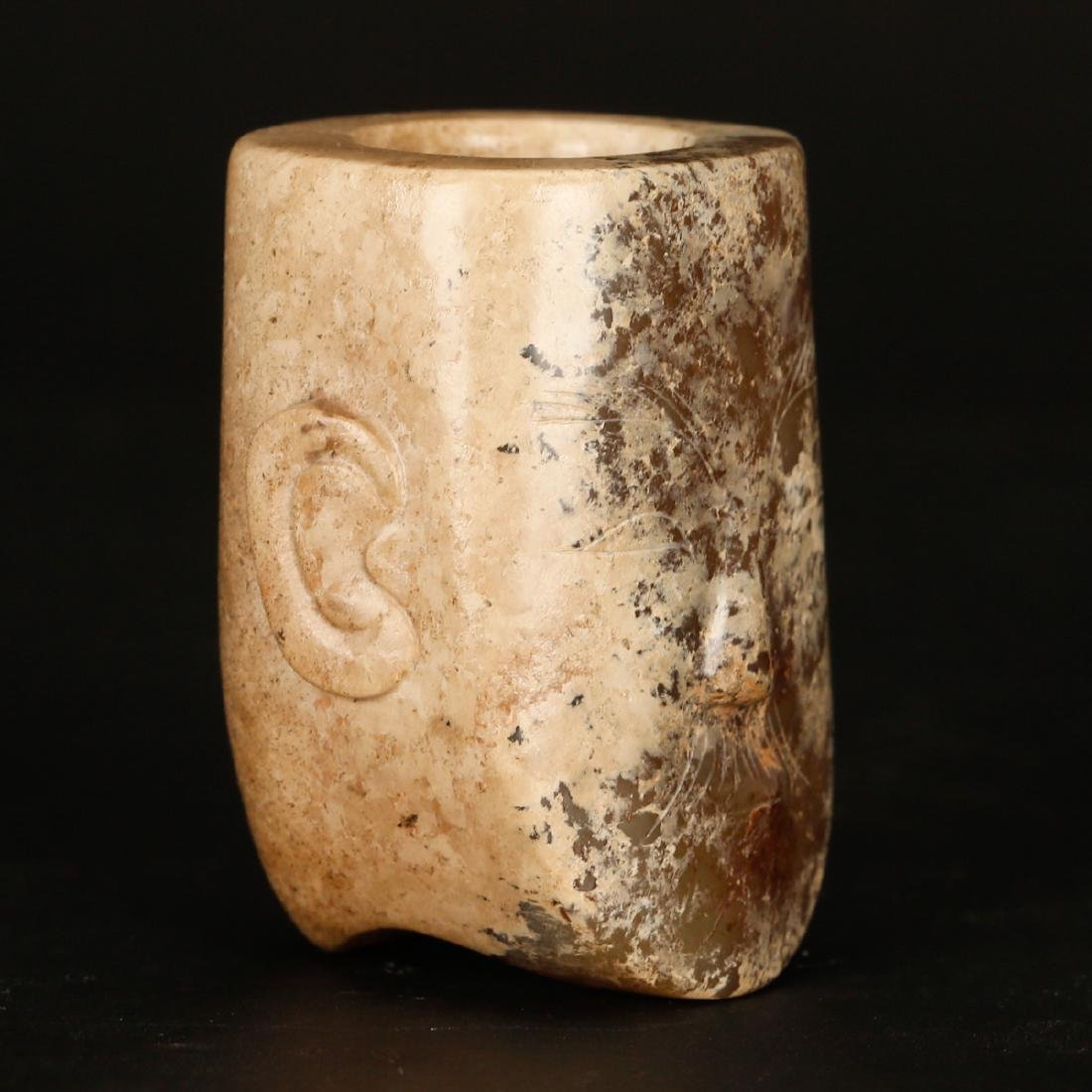 CHINESE ARCHAIC JADE OF HUMAN FACE - 2