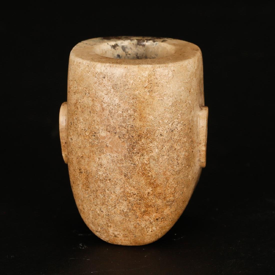 CHINESE ARCHAIC JADE OF HUMAN FACE - 3