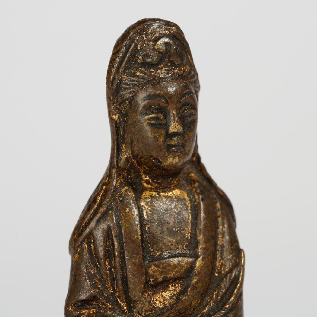 CHINESE BRONZE SEATED GUANYIN - 4