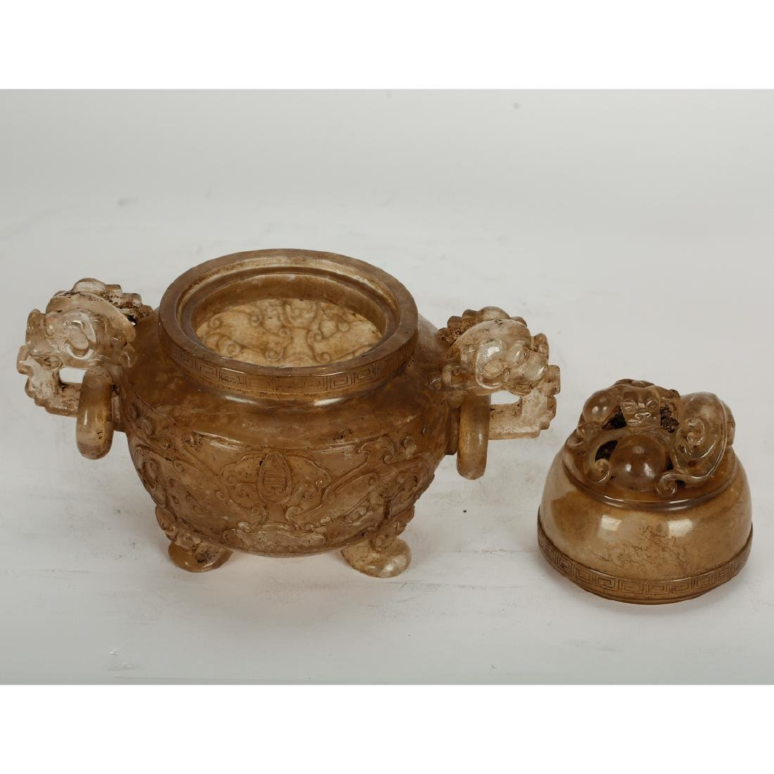 CHINESE CRYSTAL CARVED CENSER - 3
