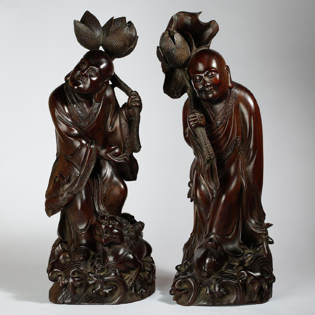 CHINESE HARDWOOD CARVED FIGURE OF HEHE