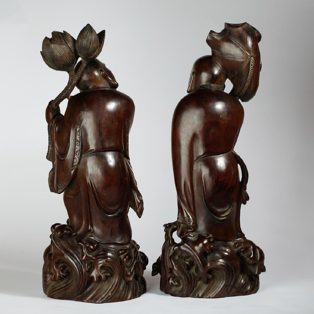 CHINESE HARDWOOD CARVED FIGURE OF HEHE - 2